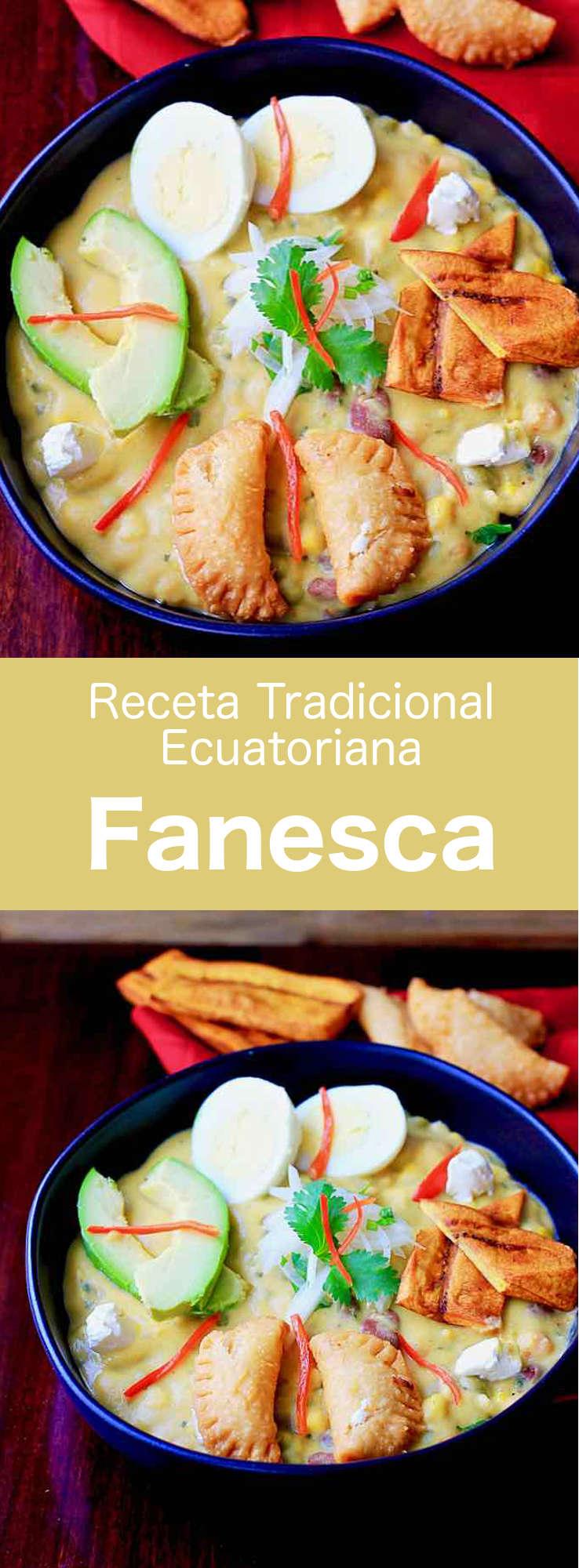 La fanesca es una sopa tradicional de Ecuador, típica de la Semana Santa, preparada con bacalao, calabaza, calabacín y varias legumbres. Está enriquecida con queso y leche.