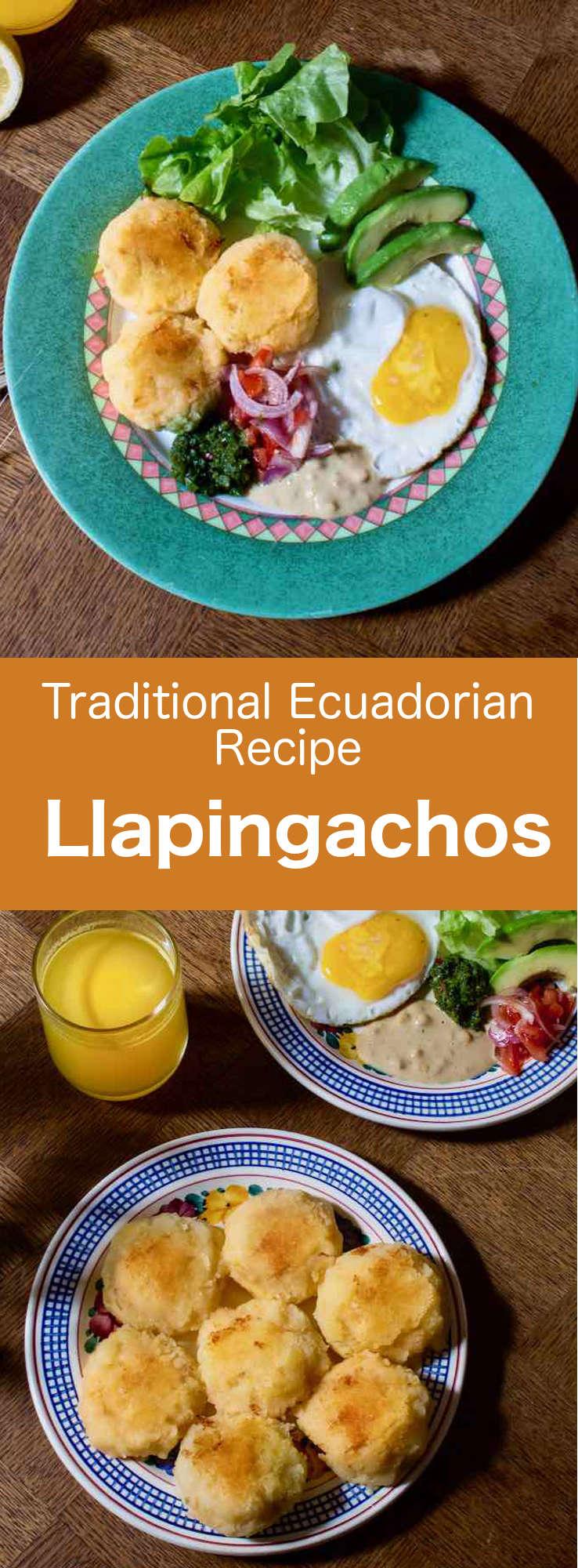 Llapingachos are delicious mashed potato cakes filled with Oaxaca cheese, which are popular in Ecuador and Colombia. #Ecuador #EcuadorFood #EcuadorianCuisine #EcuadorianRecipe #WorldCuisine #196flavors