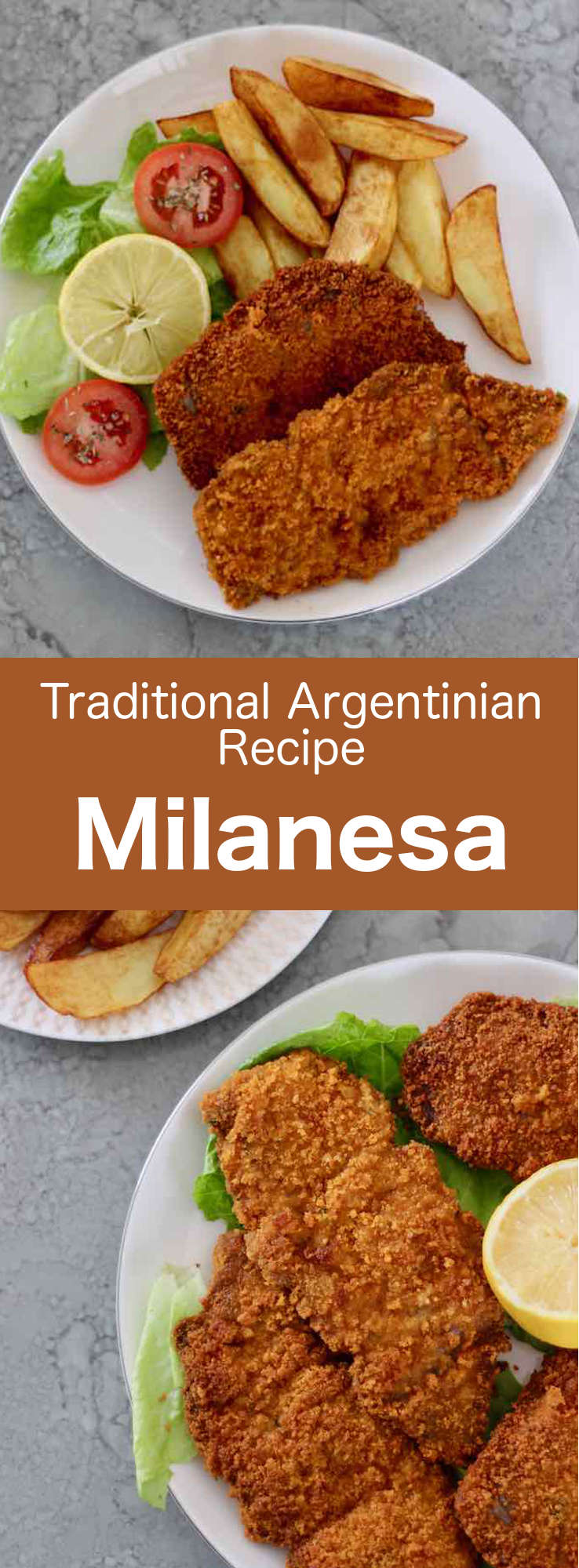 Argentinian milanesa is a slice of fried breaded beef, a classic of South American cuisine, and a variation of the famous Italian dish veal Milanese. #Argentina #ArgentinianCuisine #ArgentinianRecipe #ArgentinianFood #WorldCuisine #196flavors