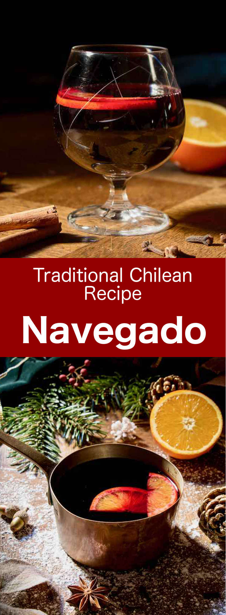 Navegado, navega'o, or vino navegado is a popular alcoholic beverage from southern Chile, which is prepared from a blend of red wine, orange slices, sugar and spices. #Chile #ChileanCuisine #ChileanRecipe #ChileanFood #WorldCuisine #196flavors