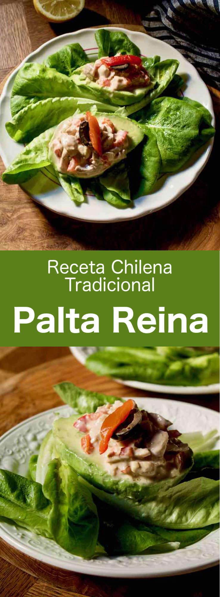 La palta reina es un delicioso popular entrante chileno que se prepara con aguacate pelado y ensalada de pollo.