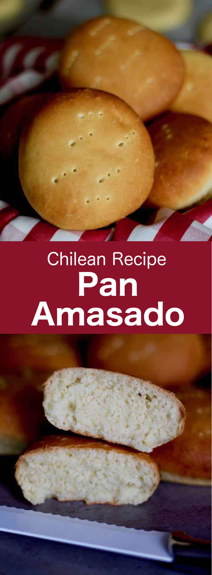 Pan amasado is one of the most traditional breads of Chile. This is a round and a little flat bread that is tasted with pebre or is used to make delicious sandwiches. #Chile #ChileanCuisine #ChileanRecipe #ChileanFood #WorldCuisine #196flavors