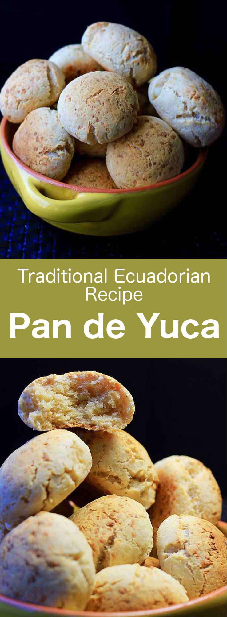 Pan de yuca (cassava bread) is a small bun made of cassava flour and cheese, typical of the coastal region of Ecuador and southern Colombia. #Ecuador #EcuadorFood #EcuadorianCuisine #EcuadorianRecipe #WorldCuisine #196flavors