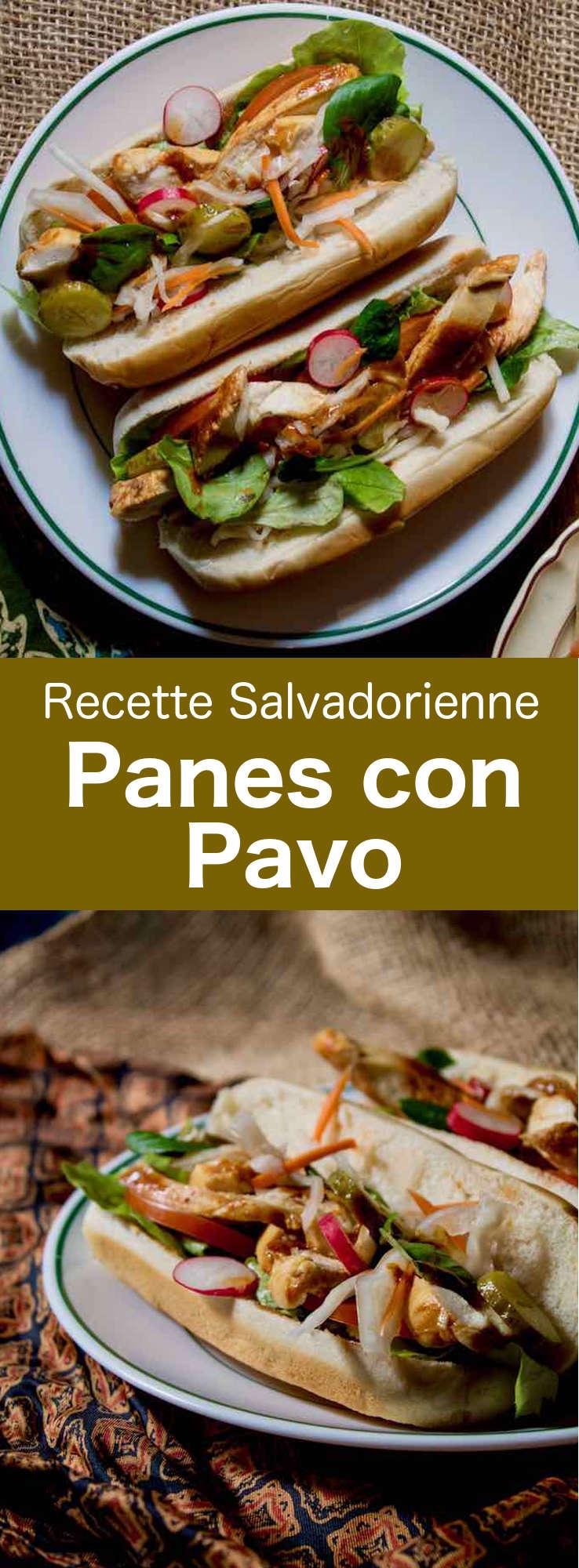 Le panes con pavo est un sandwich traditionnel salvadorien très populaire à base de dinde rôtie et de sa sauce, de légumes marinés et de légumes. #Salvador #CuisineSalvadorienne #AmeriqueCentrale #CuisineDuMonde #196flavors