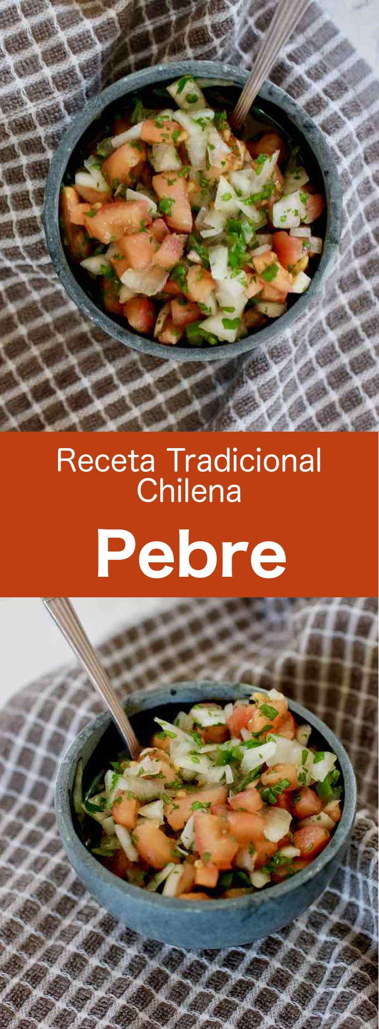 El pebre es un condimento chileno que se elabora con cilantro, cebolla, aceite de oliva, ajo, pasta de ají picante, tomates y pimientos verdes.