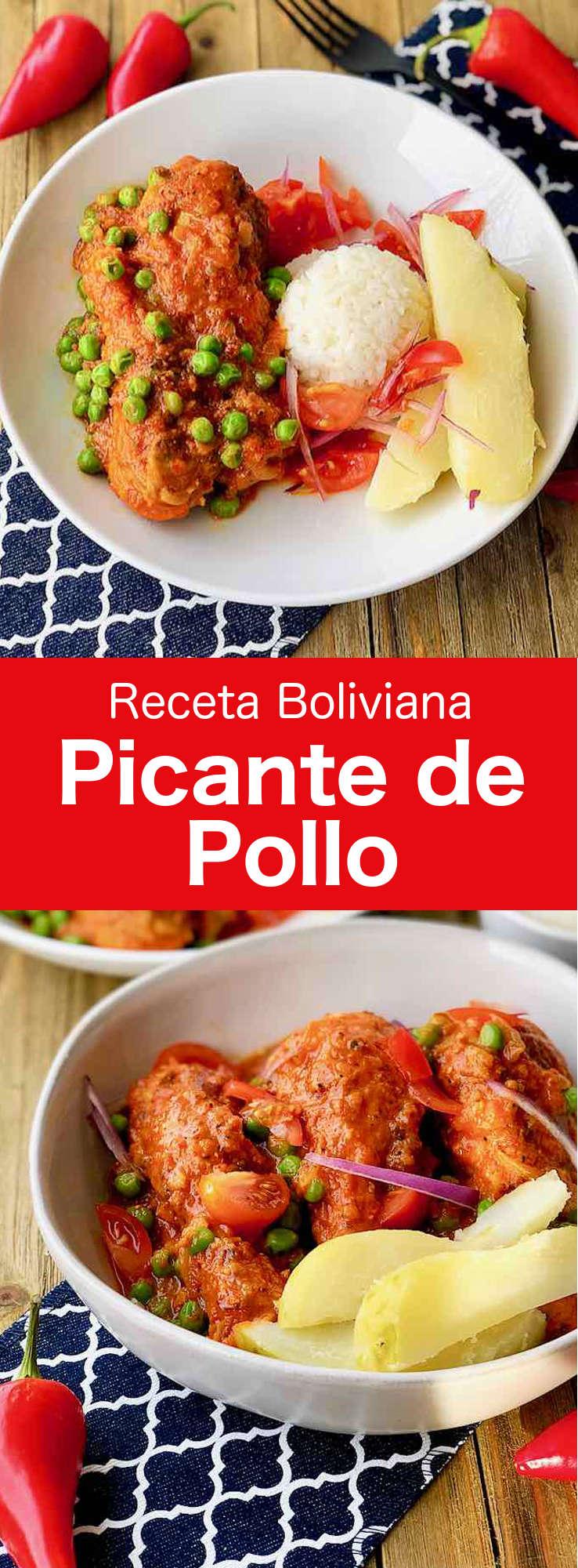 El picante de pollo es uno de los platillos más tradicionales de Bolivia. La principal característica de este plato de pollo en salsa es su intenso sabor picante.