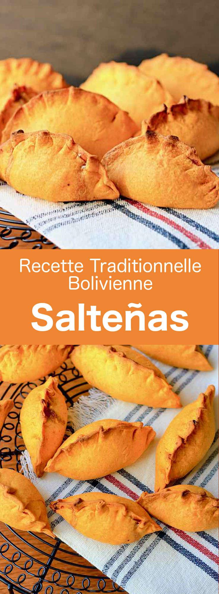 Les salteñas sont la version bolivienne des empanadas, de petits chaussons farcis de viande, de bouillon de viande en gelée, d'œuf dur et d'épices. #Bolivie #RecetteBolivienne #CuisineBolivienne #CuisineDuMonde #196flavors