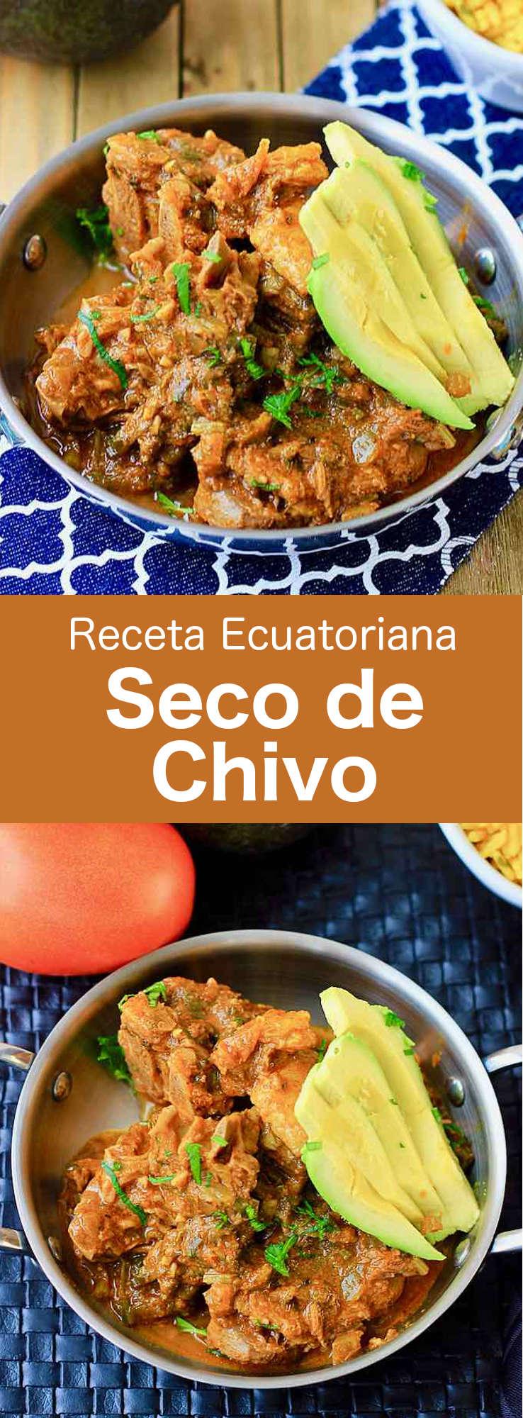 El seco de chivo es un guiso ecuatoriano tradicional hecho con carne de cabra cocinada con ajo, comino, achiote, pimiento, pimiento picante, cebolla, cilantro y salsa de tomate, chicha, jugo de naranjilla, panela y especias.