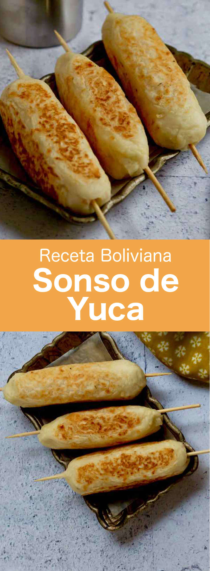 Sonso de yuca is a popular Bolivian dish made from cassava mash and grated cheese set around a skewer, which can be grilled, baked, or fried.