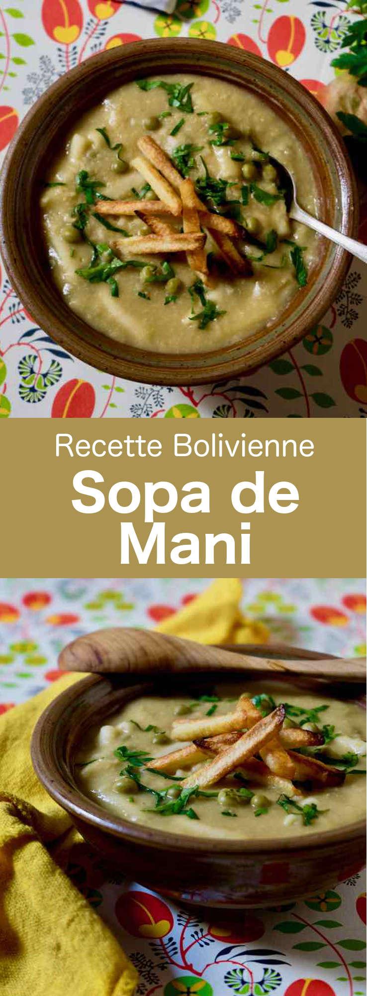 La sopa de mani est l'une des plus délicieuses et traditionnelles soupe de Bolivie. À base de cacahuètes, de pâtes, de petits-pois et de pommes de terre, elle est accompagnée de morceaux de viande de bœuf ou de poulet. #Bolivie #RecetteBolivienne #CuisineBolivienne #CuisineDuMonde #196flavors