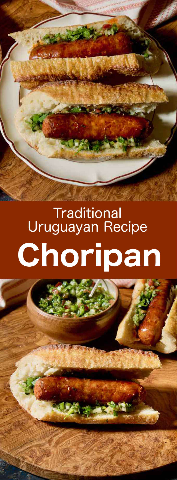 Choripán is a delicious sandwich made with chorizo ​​and chimichurri sauce popular in Uruguay, Argentina, and Chile. #UruguayanRecipe #UruguyanFood #UruguayanCuisine #ArgentinianRecipe #ArgentinianFood #ArgentinianCuisine #ChileanRecipe #ChileanFood #ChileanCuisine #LatinCusine #LatinFood #LatinRecipe #WorldCuisine #196flavors