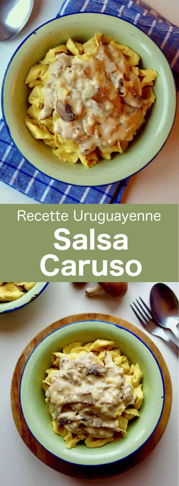 La salsa caruso est une sauce chaude à base de crème, jambon, fromage, et champignons servie avec des pâtes cappelletti, populaire en Uruguay. #Uruguay #RecetteUruguayenne #CuisineUruguayenne #WorldCuisine #196flavors
