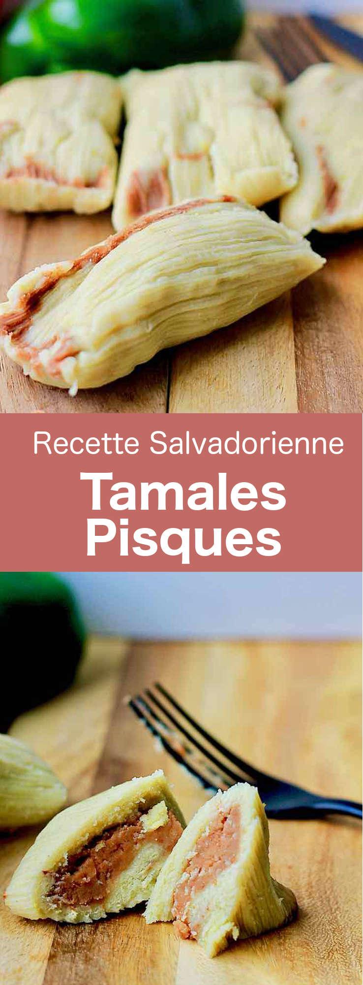 Les tamales pisques sont un plat salvadorien fait de farine de maïs nixtamalisée, mélangée à des haricots sautés, enveloppé dans des feuilles de plantain. #Salvador #CuisineSalvadorienne #AmeriqueCentrale #CuisineDuMonde #196flavors