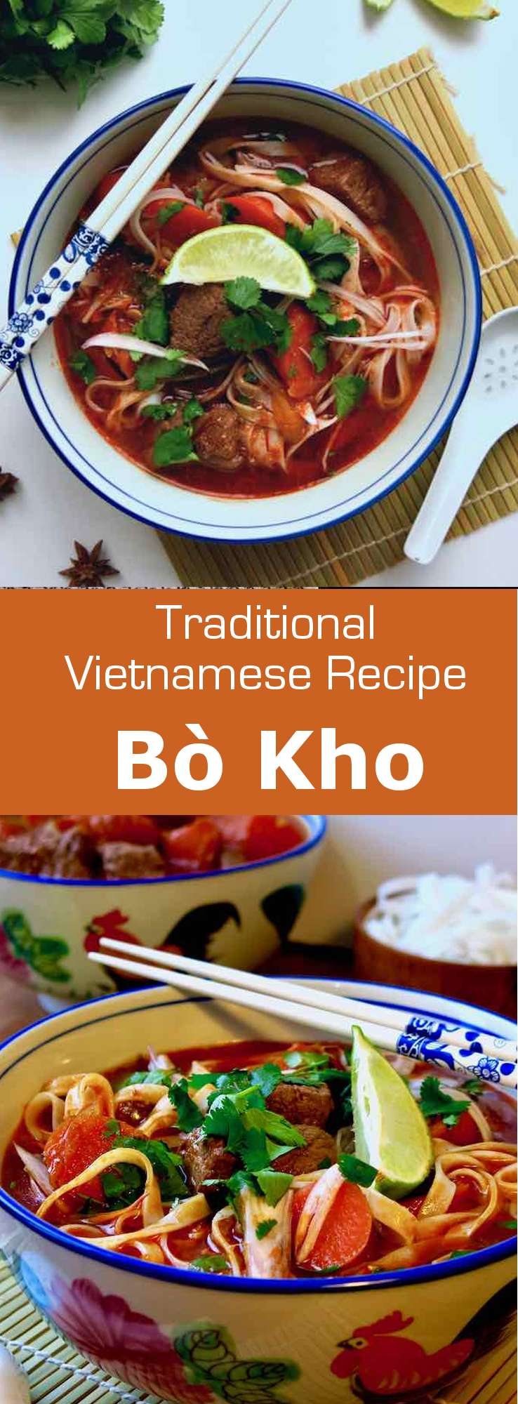 Bò kho is a delicious spicy beef stew dish, that is popular in Vietnam. It is served with rice noodles, but can also be served with baguette, or as is. #Vietnam #VietnameseCuisine #VietnameseFood #VietnameseRecipe #AsianCuisine #AsianRecipe #AsianFood #WorldCuisine #196flavors