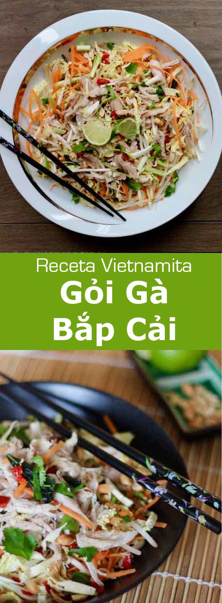 El gỏi gà bắp cải es una ensalada tradicional vietnamita con pollo y col, que está deliciosamente aromatizada con lima y rau răm.