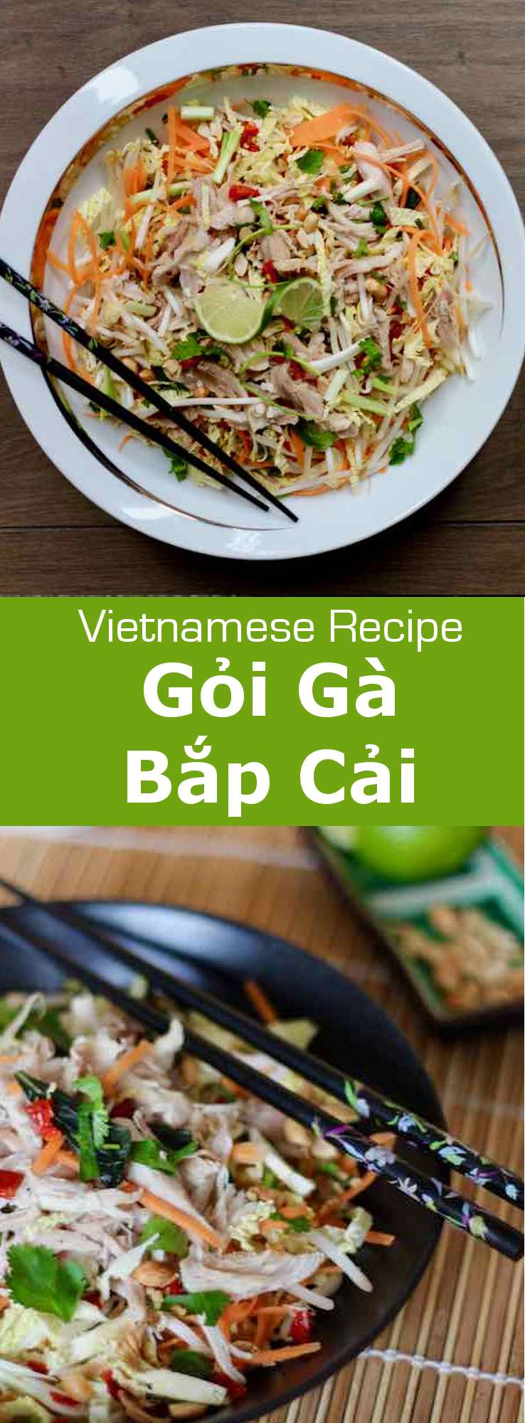 Gỏi gà bắp cải is a traditional Vietnamese salad with chicken and cabbage, that is deliciously scented with lime and rau răm. #Vietnam #VietnameseCuisine #VietnameseFood #VietnameseRecipe #AsianCuisine #AsianRecipe #AsianFood #WorldCuisine #196flavors