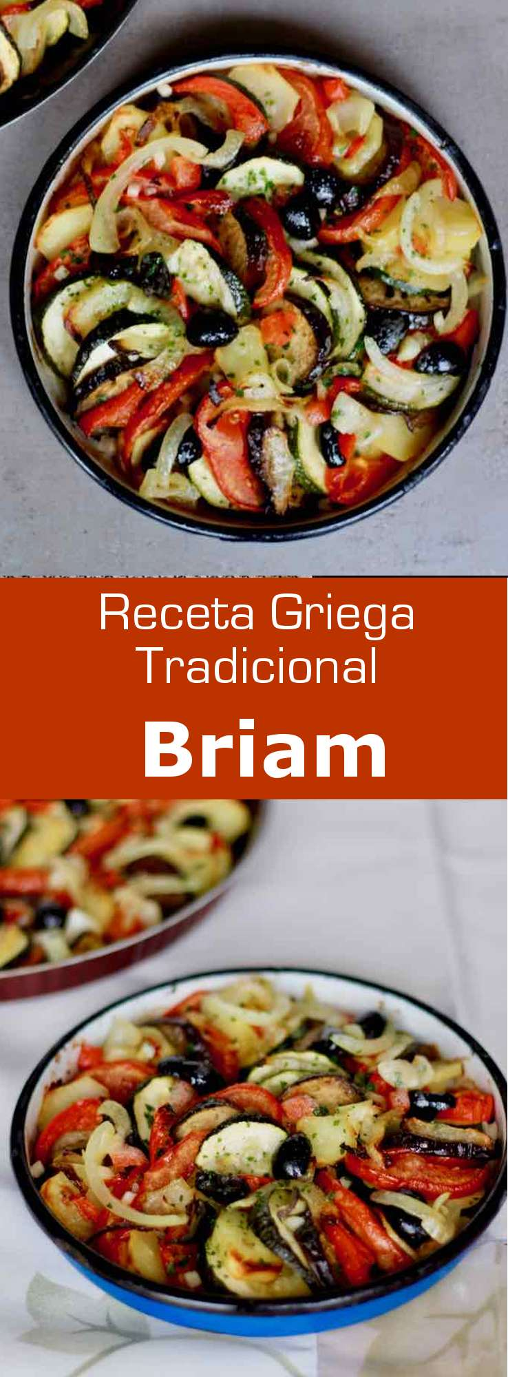 El briam es un plato tradicional de la cocina griega que se prepara con verduras de verano horneadas, que se parece a la ratatouille francesa.