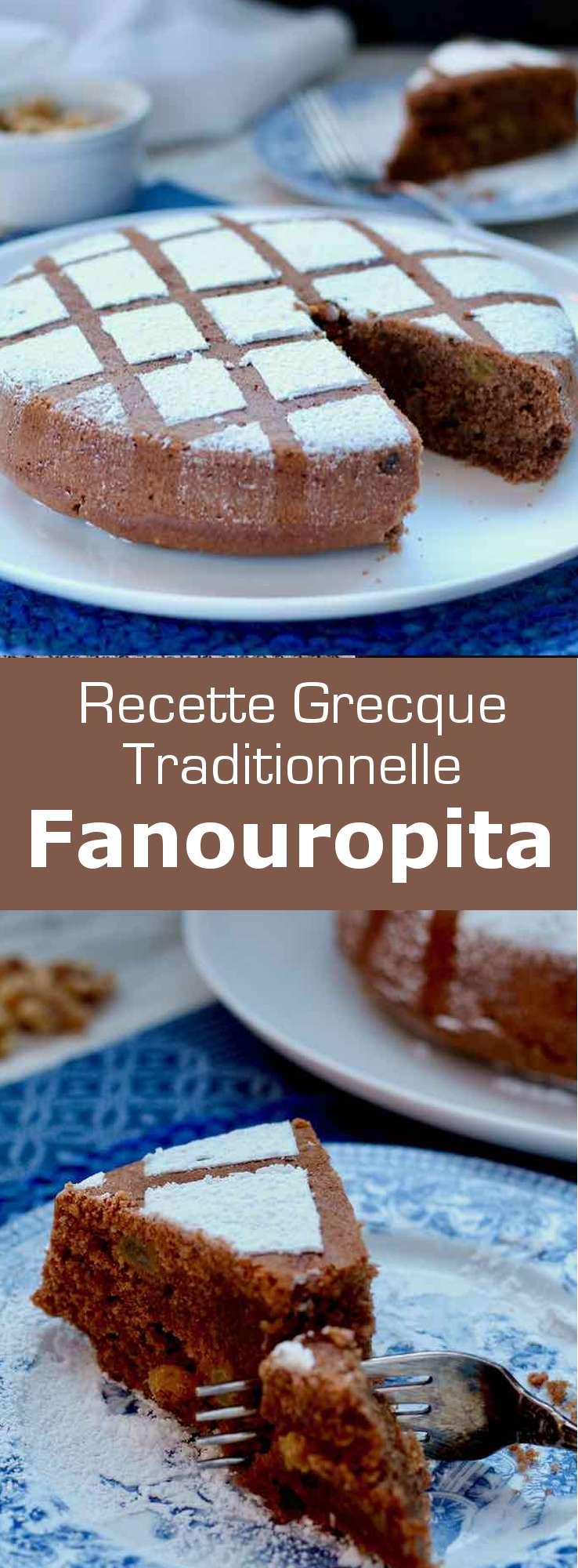 La fanouropita (φανουρόπιτα) est un gâteau traditionnel grec offert le 27 août, le jour de la Saint Phanourios (patron des objets perdus), composé de raisins secs et de noix. #Grece #RecetteGrecque #CuisineGrecque #CuisineMediterraneenne #CuisineDuMonde #196flavors