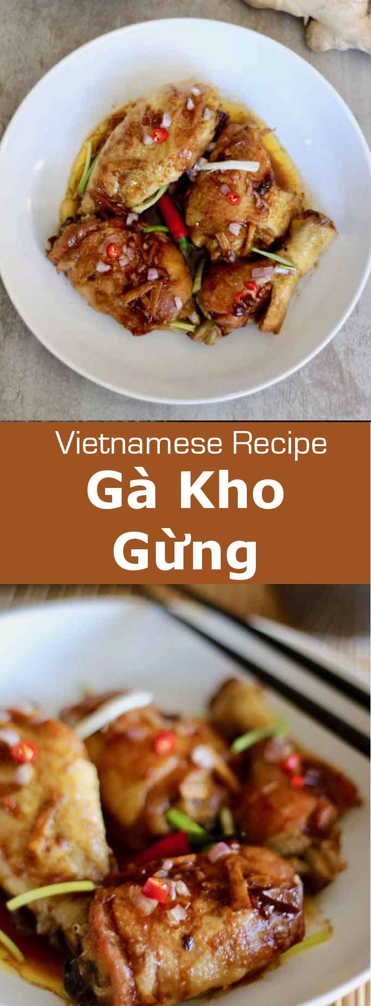 Gà kho gừng is the Vietnamese version of the traditional Asian ginger chicken. This version is flavored with nuoc mâm (fish sauce). #Vietnam #VietnameseCuisine #VietnameseFood #VietnameseRecipe #AsianCuisine #AsianRecipe #AsianFood #WorldCuisine #196flavors