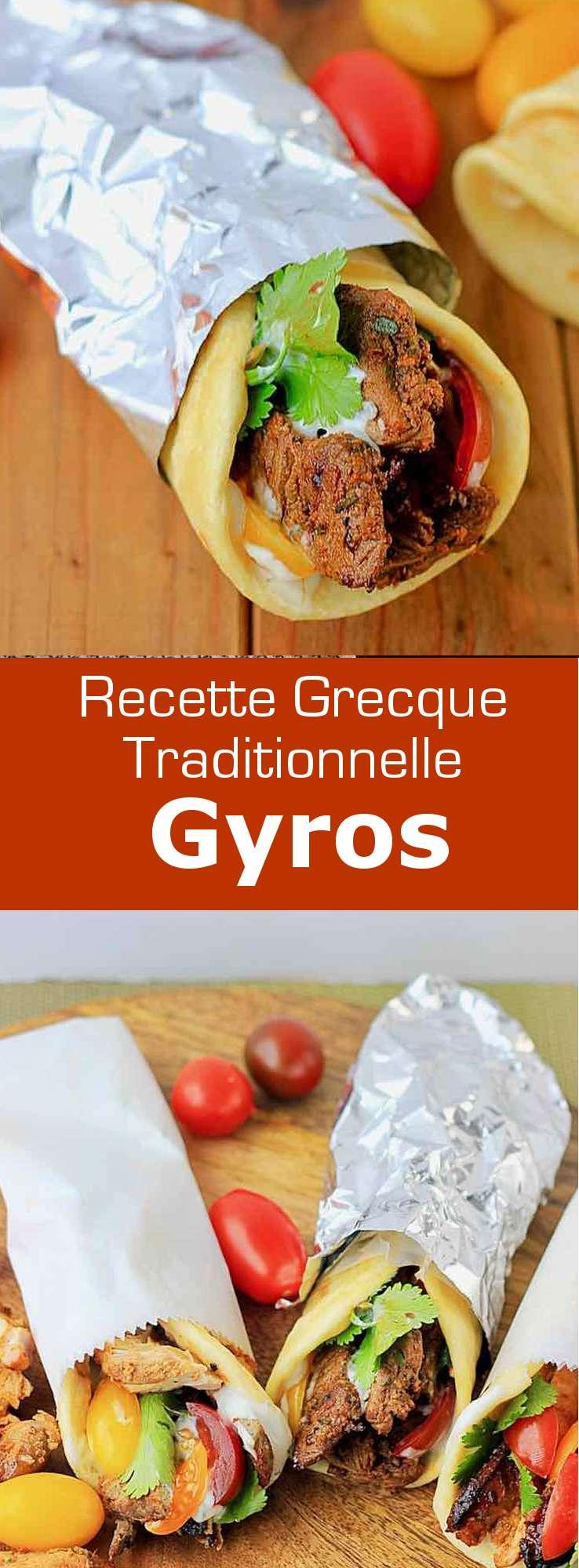 Le gyros (sandwich grec) est un plat emblématique de Grèce, composé de porc, poulet, bœuf ou agneau, tomate, oignon et tzatzíki, servi avec de la pita. #Grece #RecetteGrecque #CuisineGrecque #CuisineMediterraneenne #CuisineDuMonde #196flavors
