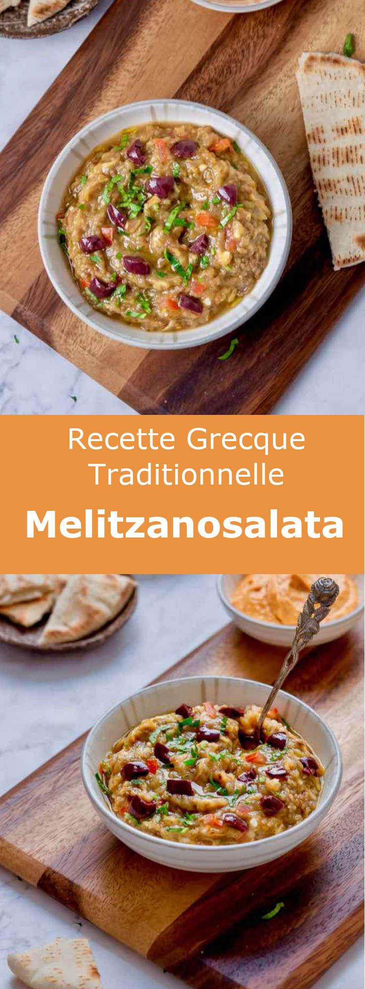 La melitzanosalata (μελιτζανοσαλάτα) est un délicieux mezzé à base de caviar d'aubergine parfumé à l'huile d'olive et au jus de citron, populaire à Chypre et en Grèce. #Grece #RecetteGrecque #CuisineGrecque #CuisineMediterraneenne #CuisineDuMonde #196flavors