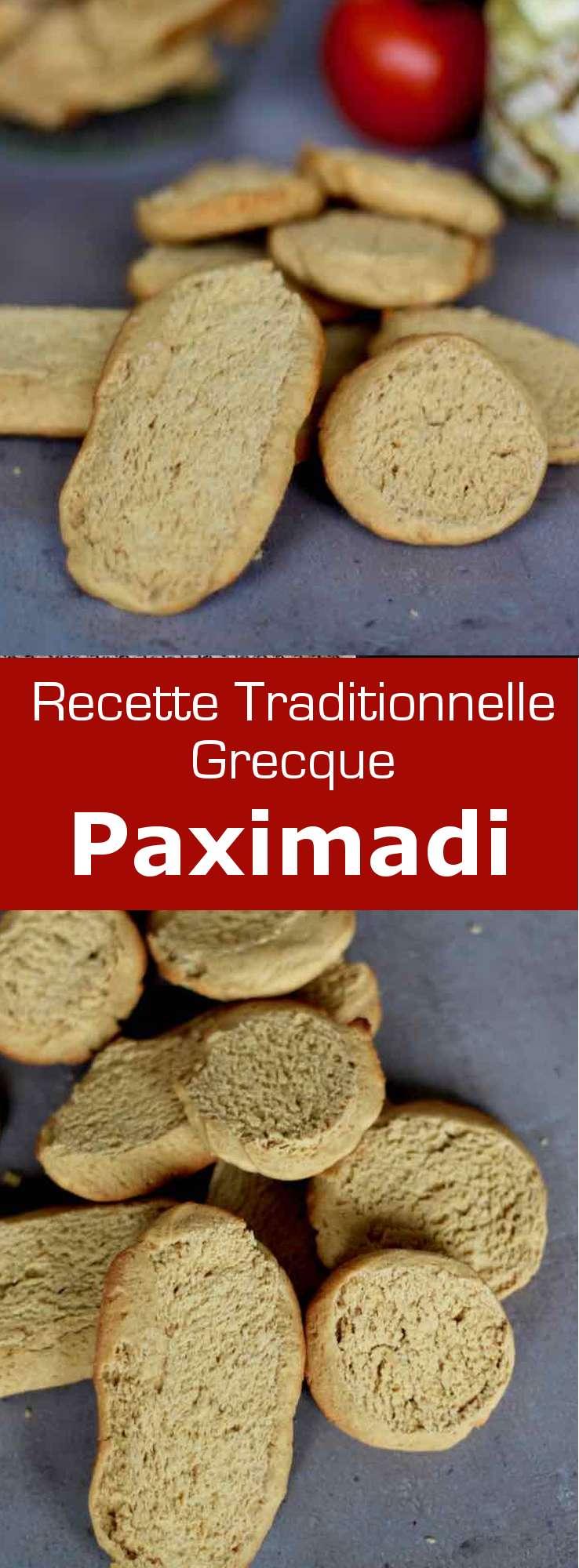 Le paximadi est un délicieux pain biscotté cuit deux fois, d'origine crétoise, qui se prépare avec de la farine d'orge mondé. #Grece #RecetteGrecque #CuisineGrecque #CuisineMediterraneenne #CuisineDuMonde #196flavors