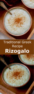 Rizogalo (pυζόγαλο) is the delicious Greek version of the traditional rice pudding that is flavored with vanilla and cinnamon. #Greece #GreekCuisine #GreekFood #GreekRecipe #MediterraneanCuisine #WorldCuisine #196flavors