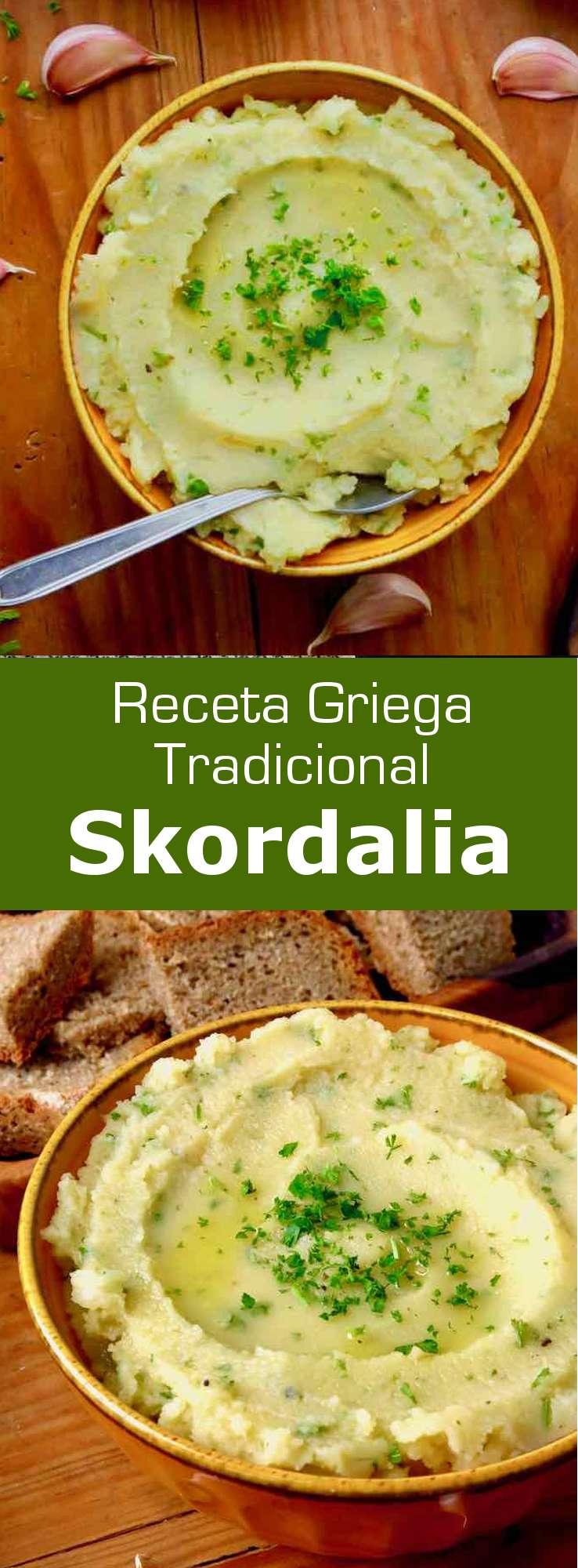 La skordalia, skordhalia o skorthalia (σκορδαλιά) es un tradicional mezze griego o una guarnición, que se prepara con ajo y puré de patata.