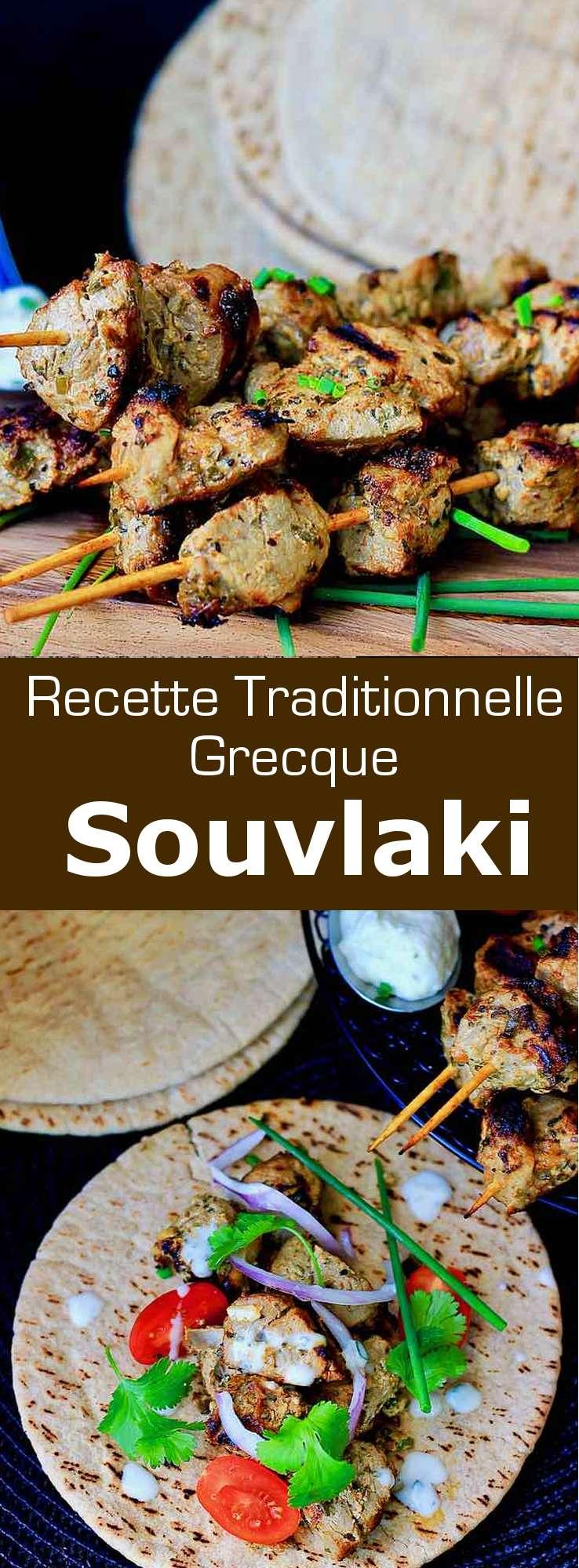 Le souvláki (σουβλάκι) est un plat populaire grec composé de petits morceaux de viande de porc, de poulet ou de bœuf sur une brochette grillée au barbecue. #Grece #RecetteGrecque #CuisineGrecque #CuisineMediterraneenne #CuisineDuMonde #196flavors