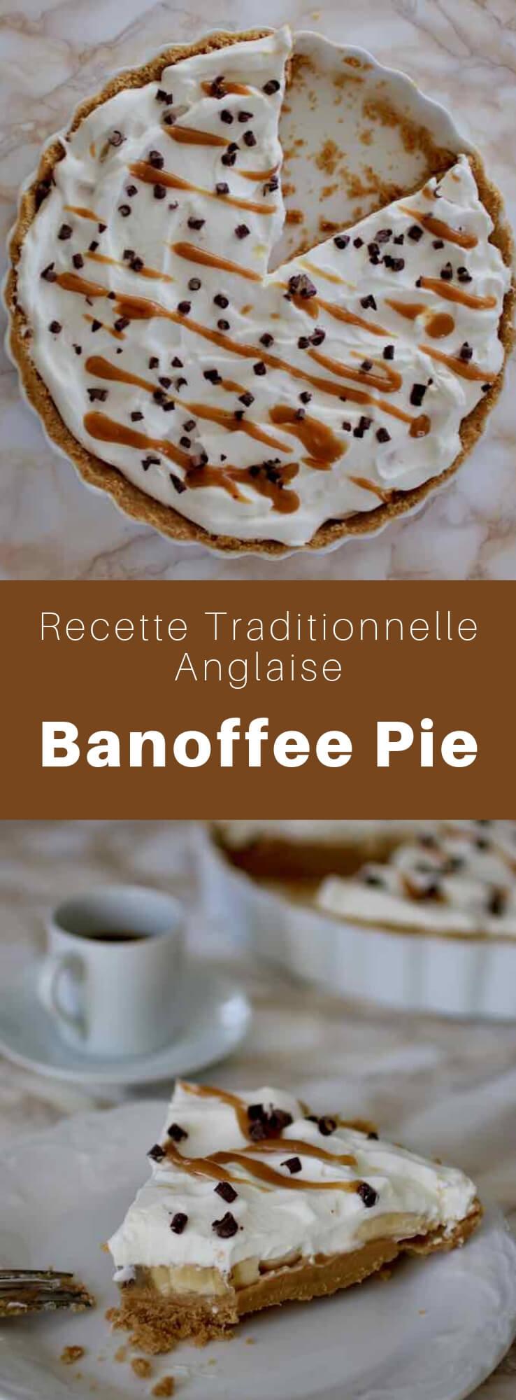 La banoffee pie est un dessert britannique traditionnel préparé avec des bananes, de la crème et du toffee, le tout posé sur une base de biscuits émiettés et de beurre. #RoyaumeUni #Angleterre #RecetteAnglaise #RecetteBritannique #CuisineAnglaise #CuisineBritannique #CuisineDuMonde #196flavors