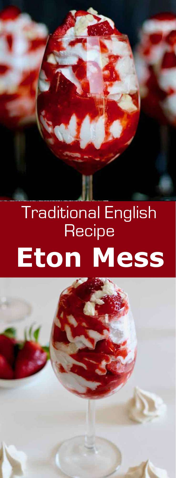 Eton mess is a traditional English dessert made from a blend of strawberries (or bananas), crushed meringue and slightly sweetened whipped cream. #UnitedKingdom #EnglishCuisine #BritishCuisine #EnglishFood #BritishFood #EnglishRecipe #BritishRecipe #WorldCuisine #196flavors