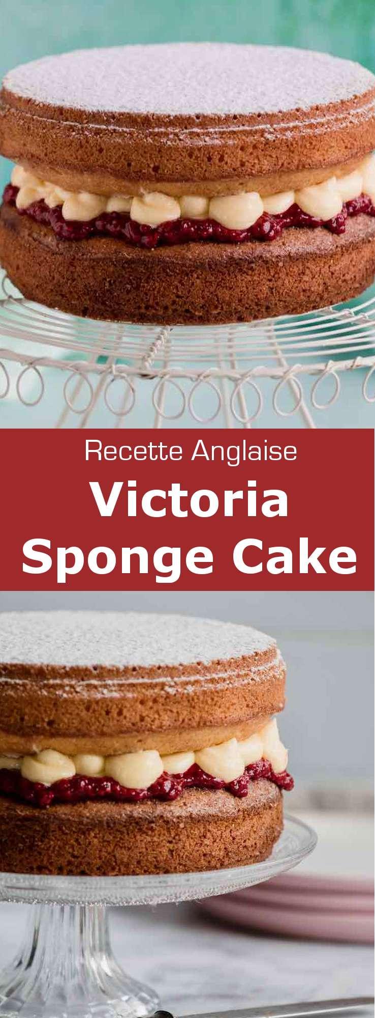 Le Victoria sponge cake est un gâteau traditionnel anglais composé de confiture de framboise et de crème au beurre à la vanille, insérées entre deux couches de génoise.  #RoyaumeUni #Angleterre #RecetteAnglaise #RecetteBritannique #CuisineAnglaise #CuisineBritannique #CuisineDuMonde #196flavors
