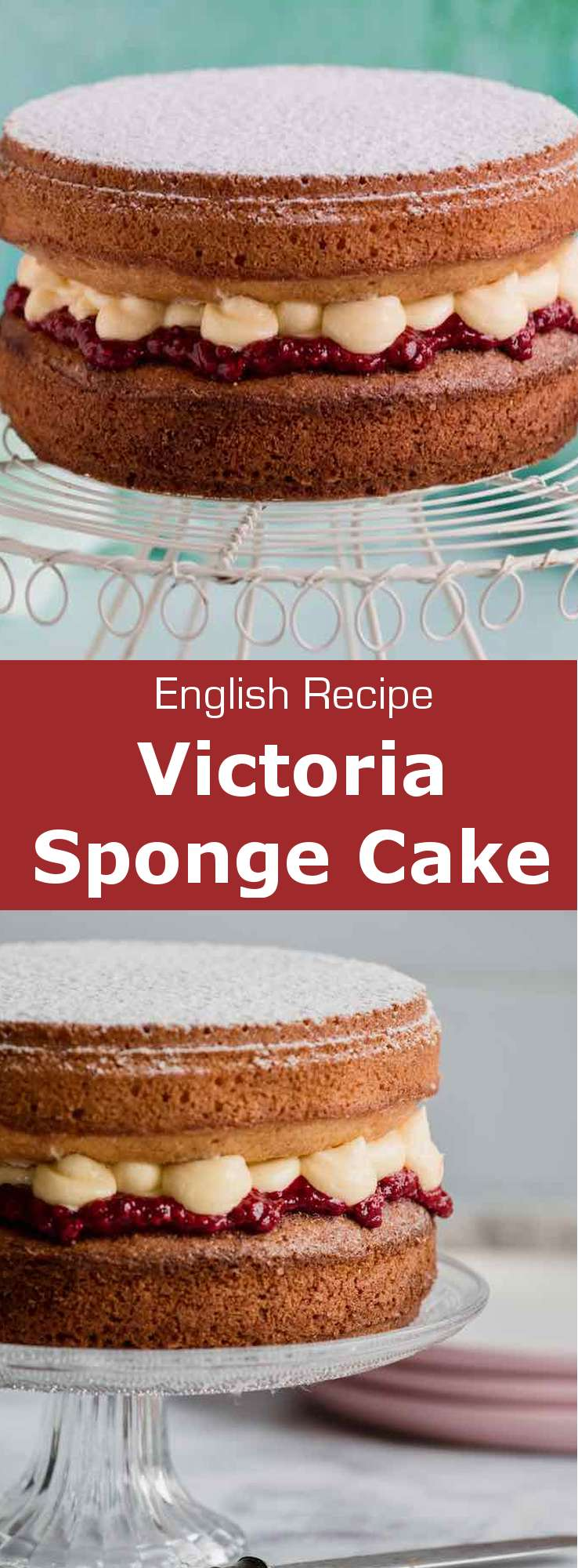 The Victoria sponge cake is a traditional English cake consisting of raspberry jam and vanilla buttercream, that is spread between two layers of sponge cake. #UnitedKingdom #EnglishCuisine #BritishCuisine #EnglishFood #BritishFood #EnglishRecipe #BritishRecipe #WorldCuisine #196flavors