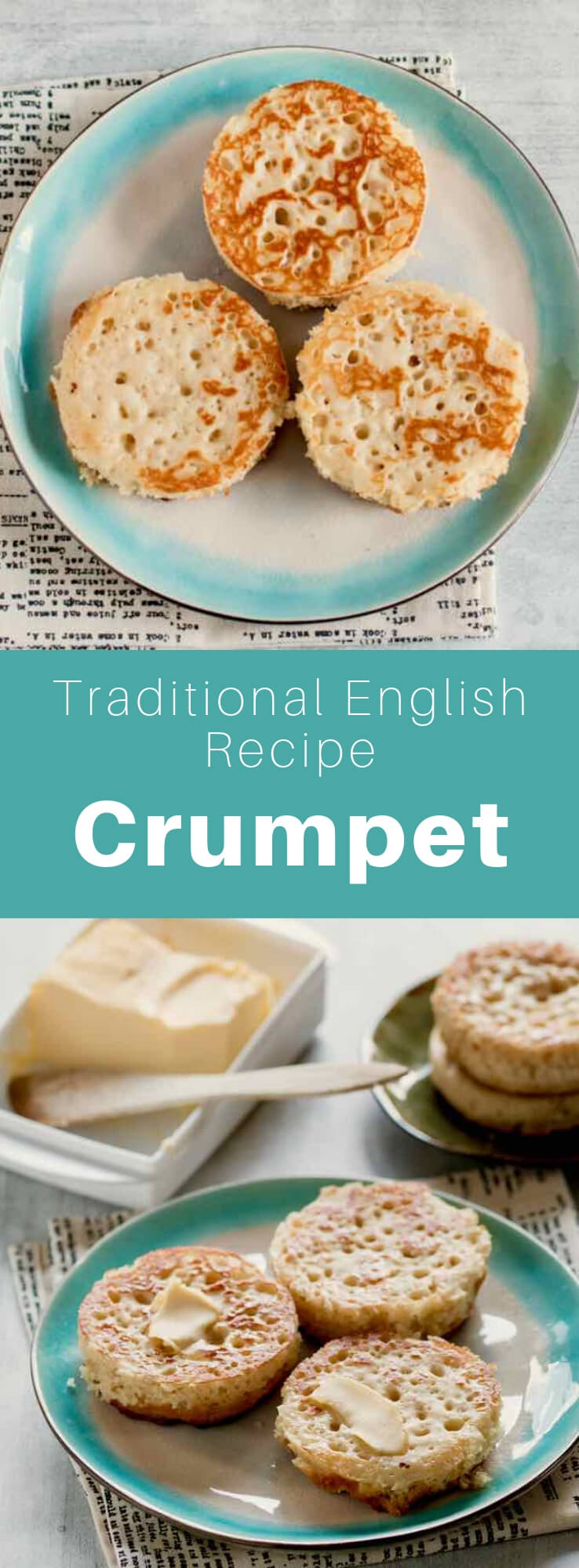 Crumpet is a bread made of flour and yeast. It is consumed mainly in the United Kingdom, but also throughout the Commonwealth. #UnitedKingdom #EnglishCuisine #BritishCuisine #EnglishFood #BritishFood #EnglishRecipe #BritishRecipe #WorldCuisine #196flavors