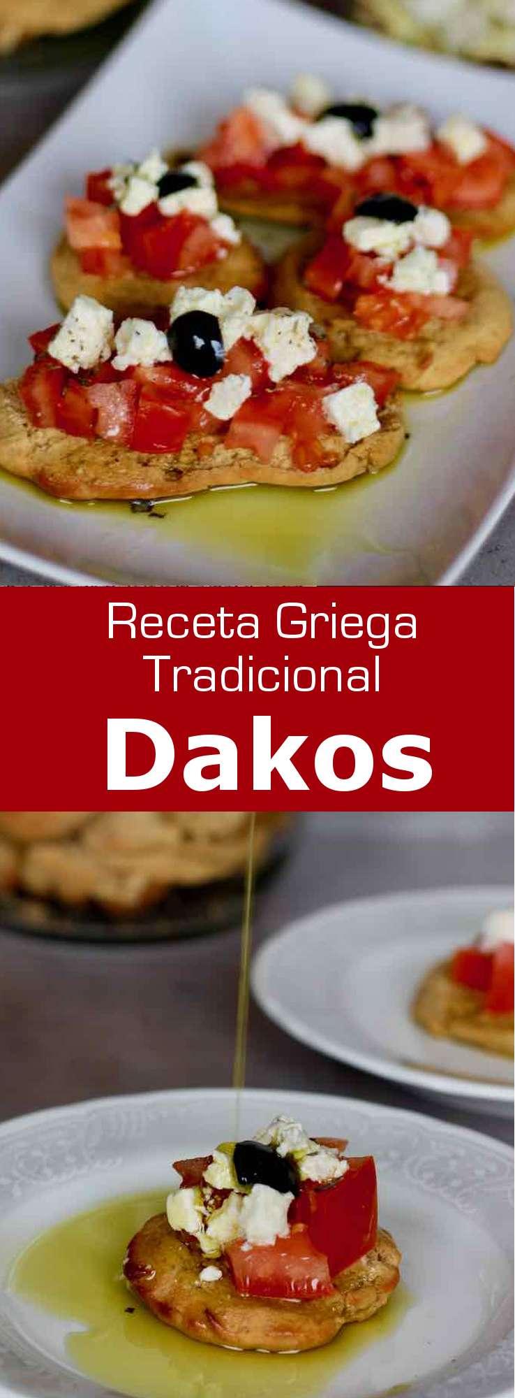 El dakos consiste en una rebanada de paximadi con tomate y queso feta o queso mizithra rociado con una generosa dosis de aceite de oliva virgen extra.