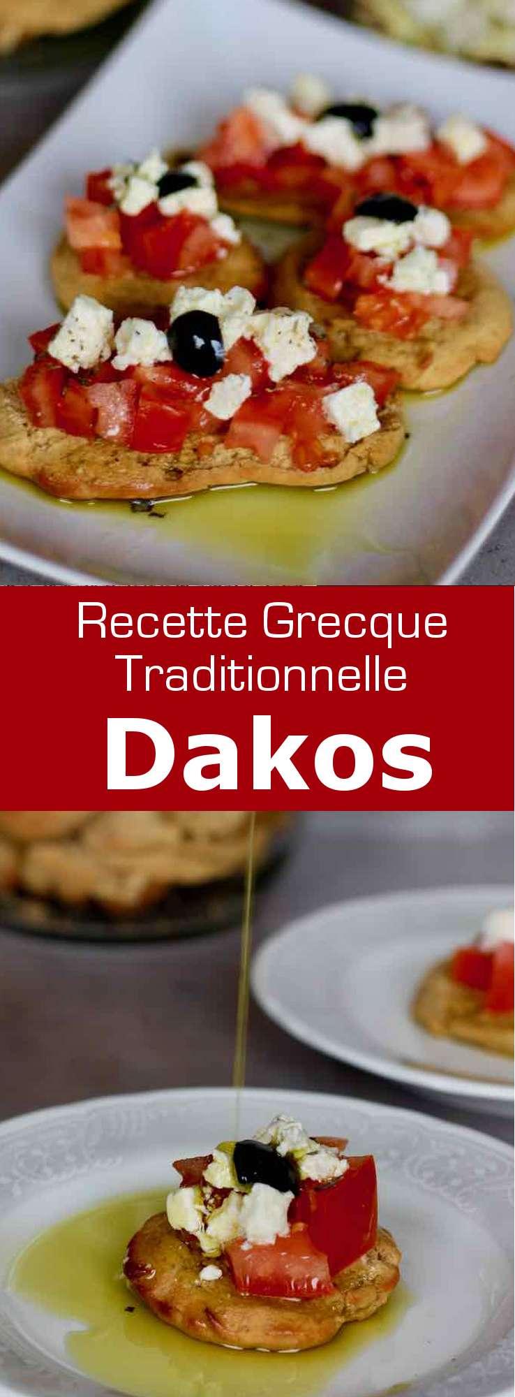 Le dakos est une tranche de paximadi garnie detomate et de fromagefetaoumizithra arrosée d'une dose généreuse d'huile d'olive extra vierge. #Grece #RecetteGrecque #CuisineGrecque #CuisineMediterraneenne #CuisineDuMonde #196flavors