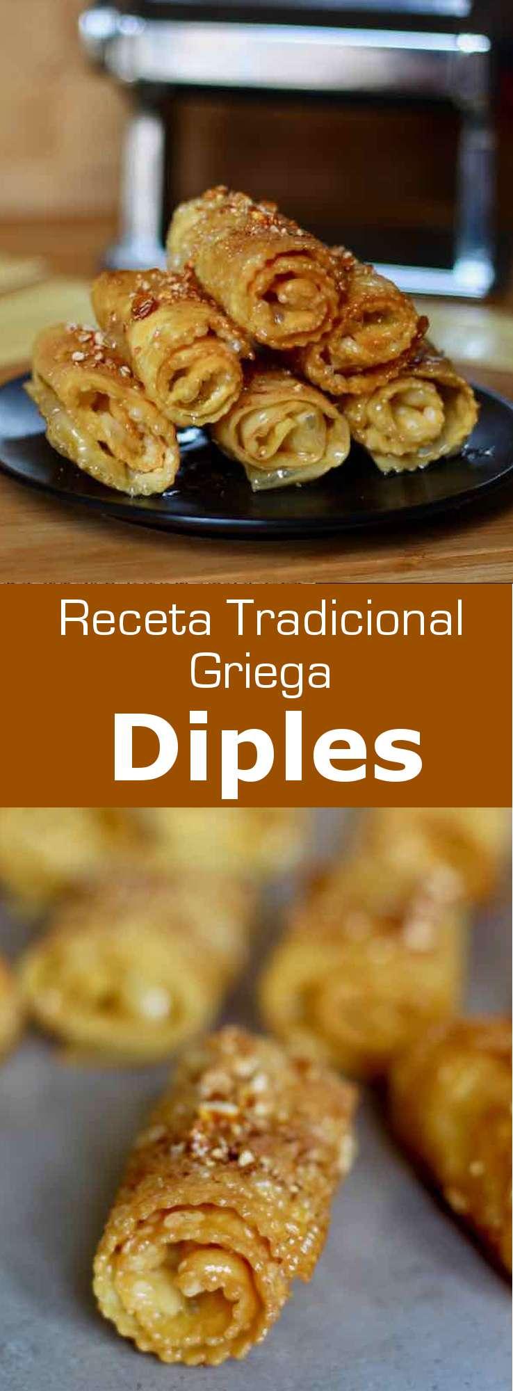 Los diples son pasteles griegos típicos de la región del Peloponeso, compuestas por una masa a base de huevo frita, bañadas en un jarabe de azúcar y miel, y decoradas con nueces trituradas y canela.