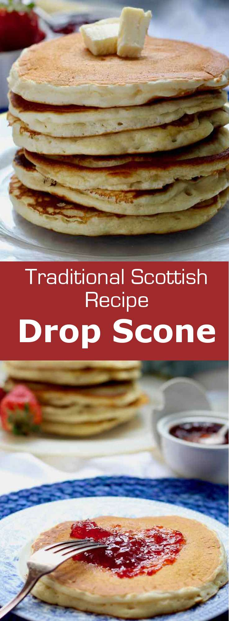 The drop scone is a variation of the traditional Scottish scone. It is baked in the pan and is also known as Scottish pancake. #UnitedKingdom #Scotland #ScottishCuisine #EnglishCuisine #BritishCuisine #ScottishFood #EnglishFood #BritishFood #ScottishRecipe #EnglishRecipe #BritishRecipe #WorldCuisine #196flavors