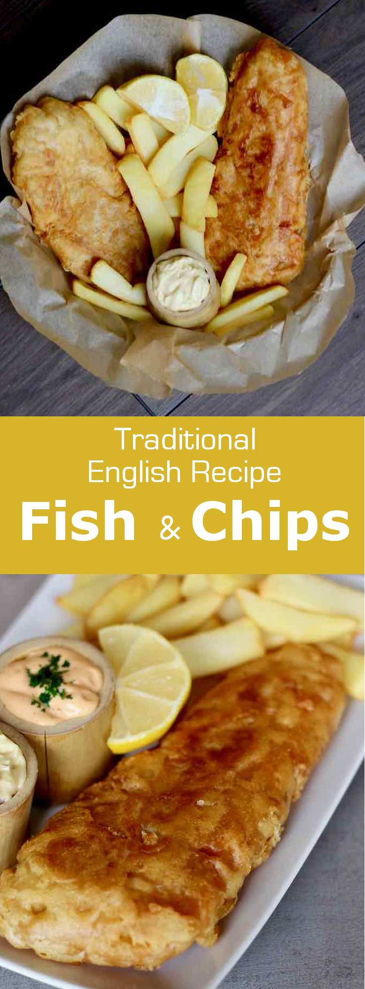 Fish and chips, which consists in deep-fried beer-battered fish fillets served with French fries, is a popular dish from the United Kingdom, but also Australia and New Zealand. #UnitedKingdom #EnglishCuisine #BritishCuisine #EnglishFood #BritishFood #EnglishRecipe #BritishRecipe #WorldCuisine #196flavors