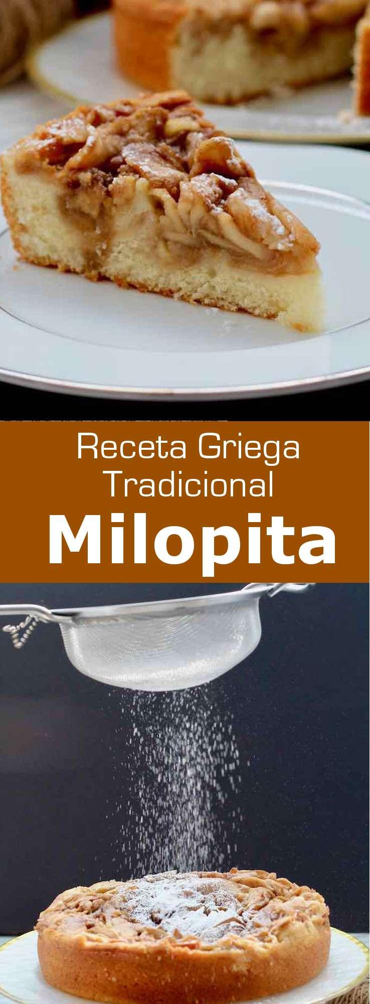 La milopita (μηλόπιτα) es la versión tradicional griega de la tarta de manzana con canela, que queda a medio camino entre una masa de pastel suave y un hojaldre.