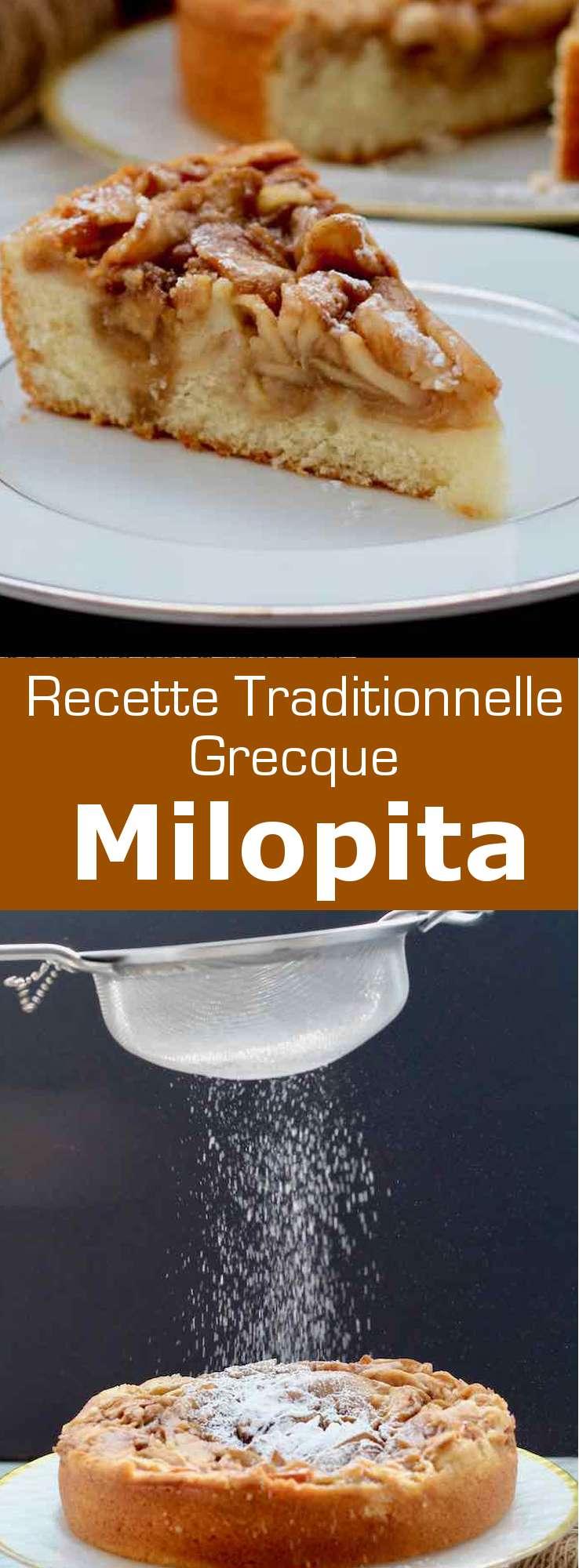 La milopita (μηλόπιτα) est la version grecque traditionnelle de la tarte aux pommes, à la cannelle, à mi chemin entre une pâte à gâteau moelleux et une pâte à tarte. #Grece #RecetteGrecque #CuisineGrecque #CuisineMediterraneenne #CuisineDuMonde #196flavors