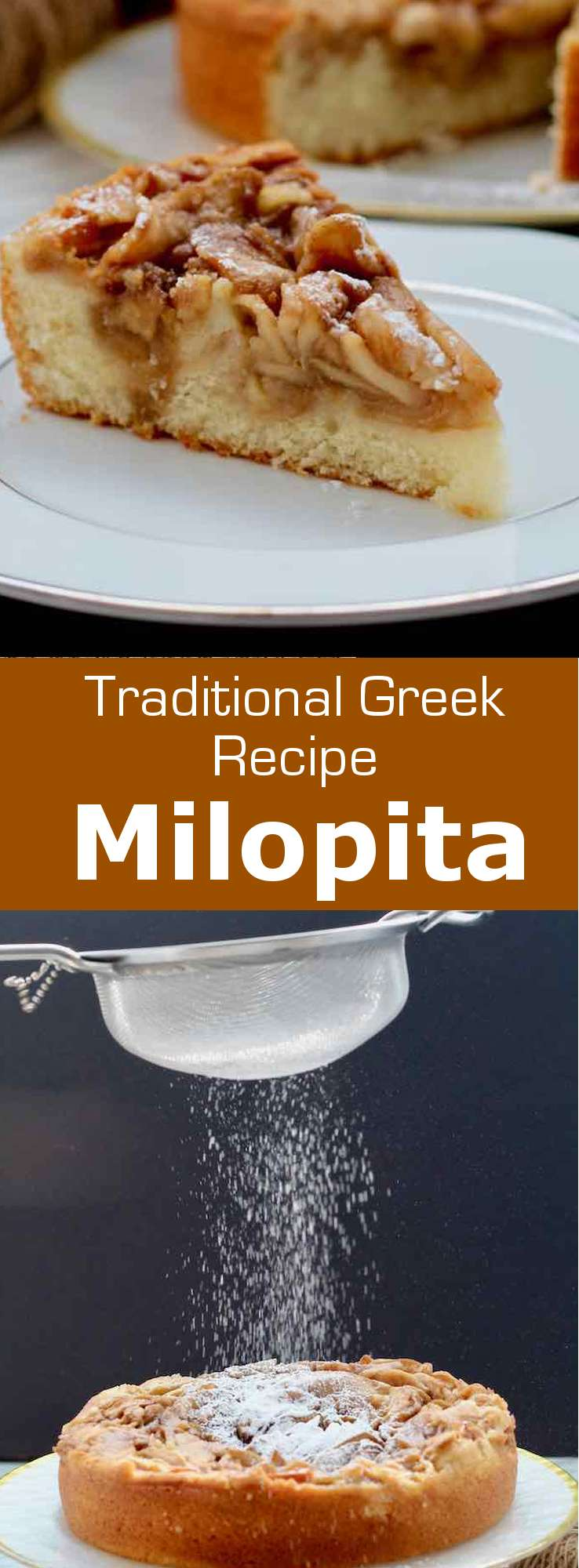 Milopita (μηλόπιτα) is the traditional Greek version of apple pie with cinnamon, halfway between a soft cake dough and a pastry. #Greece #GreekCuisine #GreekFood #GreekRecipe #MediterraneanCuisine #WorldCuisine #196flavors