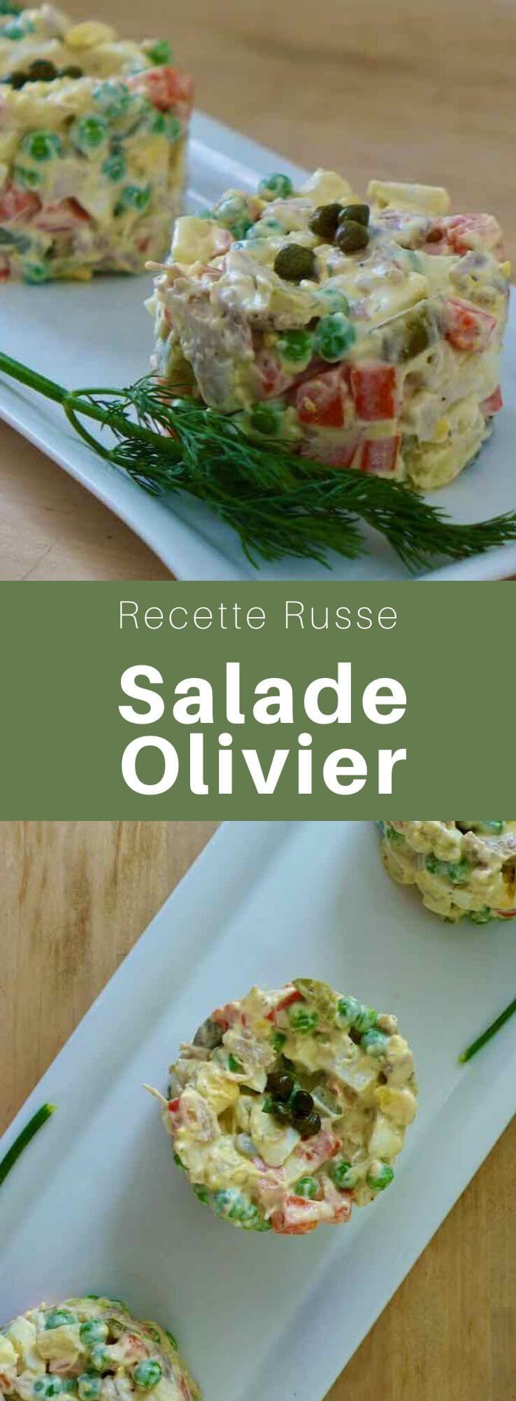 La version originale de la salade Olivier a été créée par Lucien Olivier dans les années 1860. Elle est composée de patates, légumes, œufs, poulet et mayo. #Russie #RecetteRusse #CuisineDuMonde #196flavors