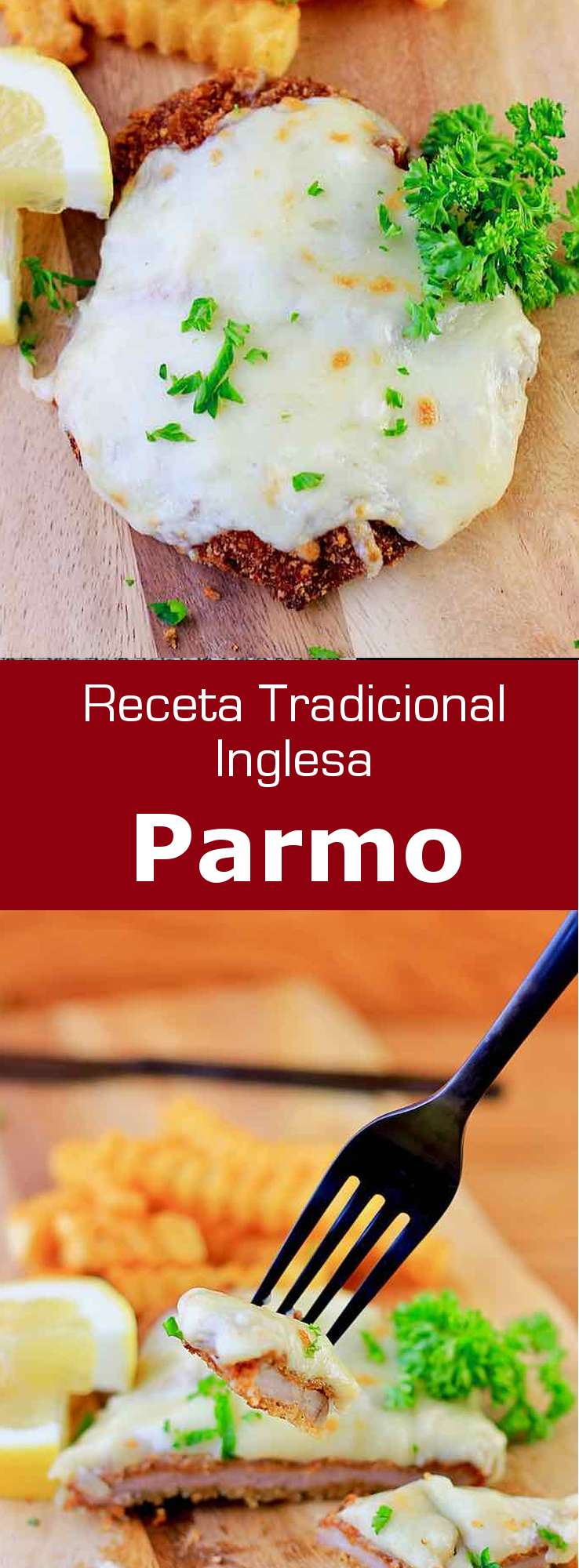 El parmo es un plato popular de Middlesbrough, Inglaterra, que está hecho con carne de cerdo rebozada y salsa de queso cheddar; es similar al schnitzel.