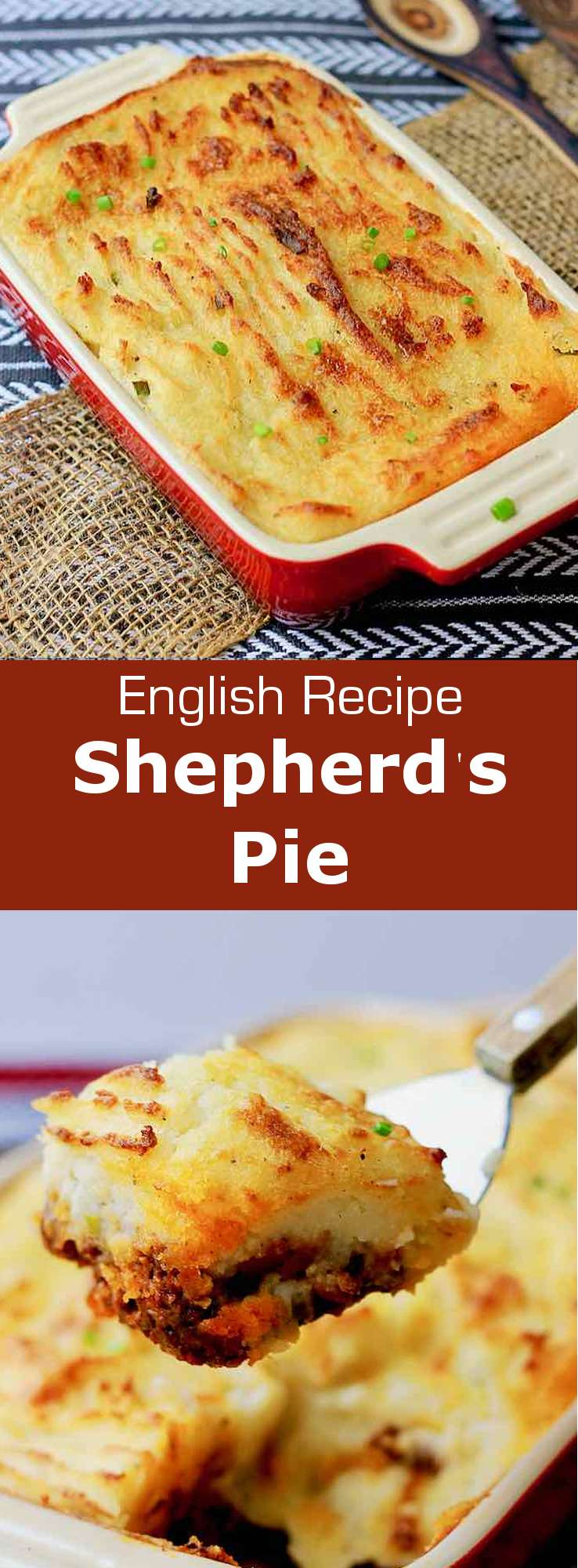 Shepherd's pie is a traditional British dish, made from lamb or mutton and mashed potatoes that is similar to French hachis parmentier. #UnitedKingdom #EnglishCuisine #BritishCuisine #EnglishFood #BritishFood #EnglishRecipe #BritishRecipe #WorldCuisine #196flavors