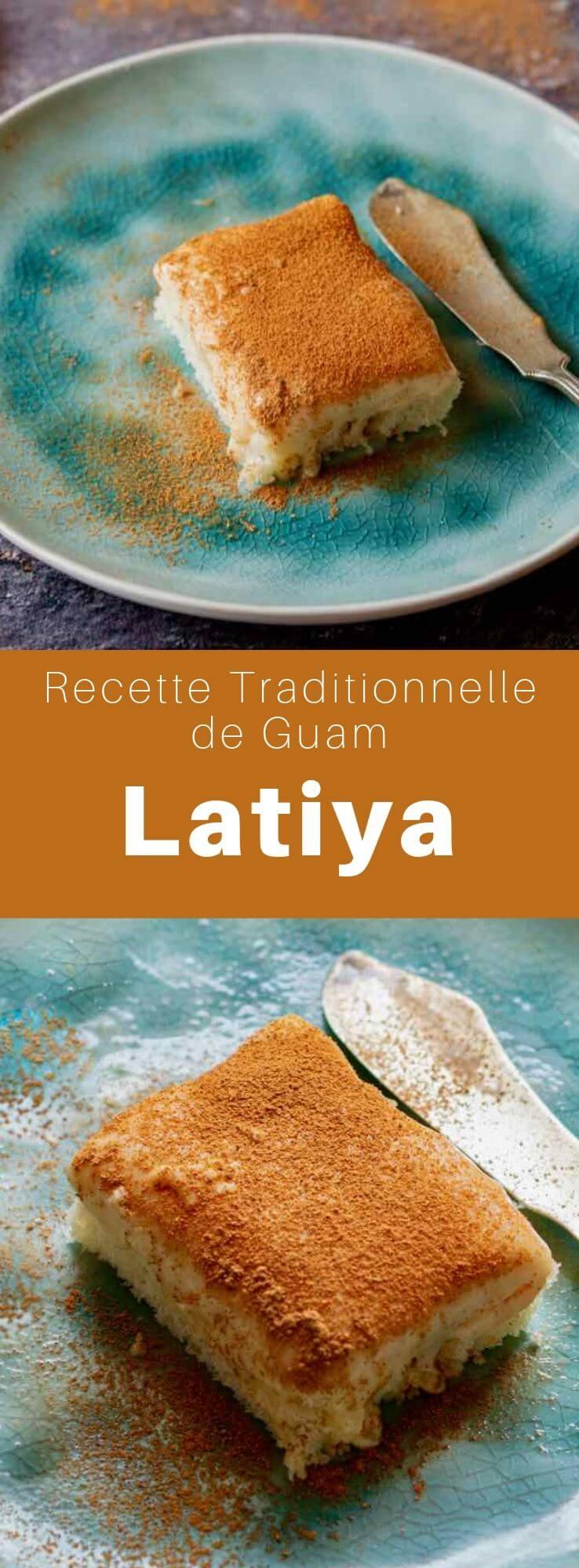 La latiya ou natiya est un dessert populaire de l'île de Guam composé de crème aux oeufs à la vanille saupoudrée de cannelle et d'une base de génoise. #Guam #RecetteDeGuam #RecetteChamorro #Chamorro #CuisineDuMonde #196flavors
