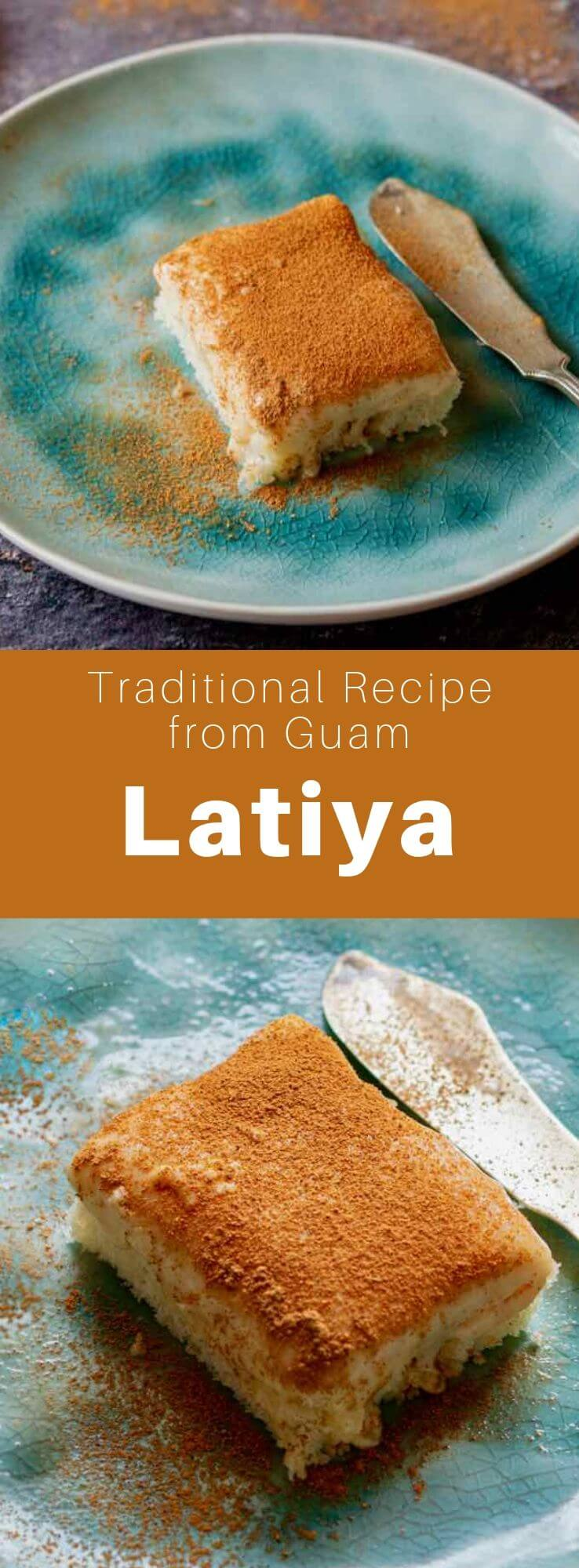 Latiya (or natiya) is a popular dessert from Guam prepared with vanilla pastry cream sprinkled with cinnamon and a sponge cake base. #Guam #GuamFood #GuamRecipe #GuamCuisine #Chamorro #ChamorroCuisine #ChamorroFood #ChamorroRecipe #WorldCuisine #196flavors