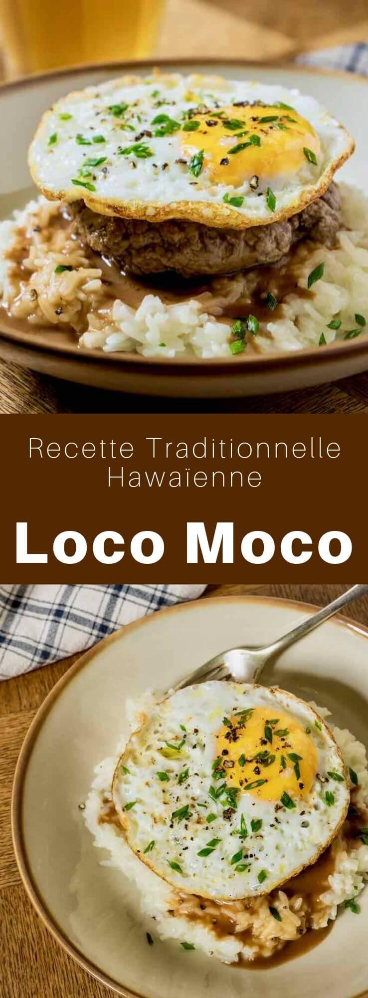 Le loco moco est un plat de la cuisine hawaïenne composé de riz blanc surmonté d'un steak haché, d'un œuf sur le plat et de jus de viande. #Hawai #RecetteHawaienne #CuisineHawaienne #CuisineDuMonde #196flavors