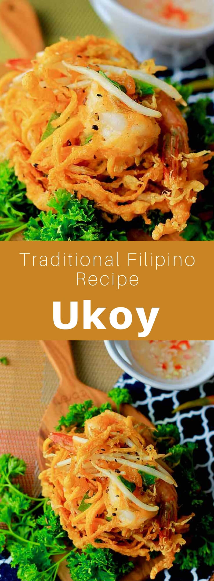 Ukoy ou okoy is a small traditional crispy fritter, popular in the Philippines and Palau, prepared with shrimp and vegetables. It is popular at breakfast, as a snack or appetizer. #Philippines #Palau #FilipinoCuisine #PalauanCuisine #FilipinoFood #PalauanFood #FilipinoRecipe #PalauanRecipe #SouthPacificCuisine #SouthPacificFood #IslandCuisine #WorldCuisine #196flavors