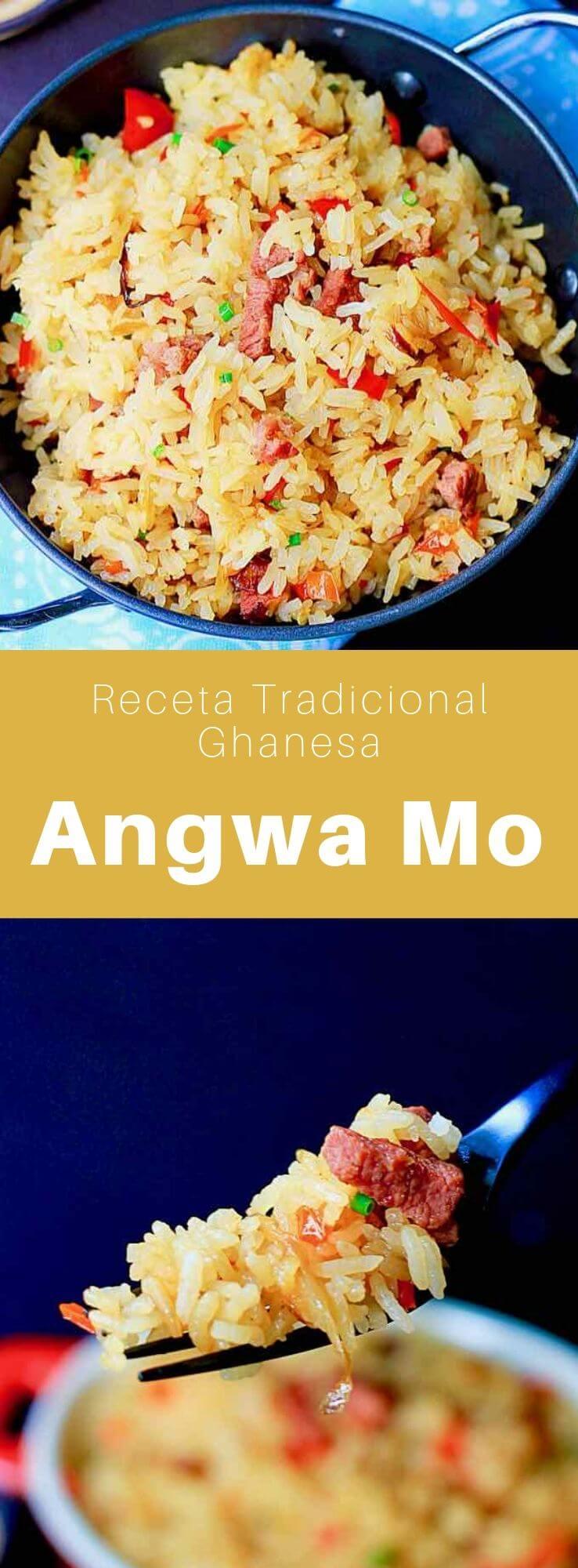 El angwa mo (o angwamu) es un delicioso plato tradicional de Ghana que consiste en arroz frito que a menudo se cocina con carne de res salada (tolo beef).